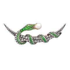 Victorian Demantoid and Diamond Serpent Brooch