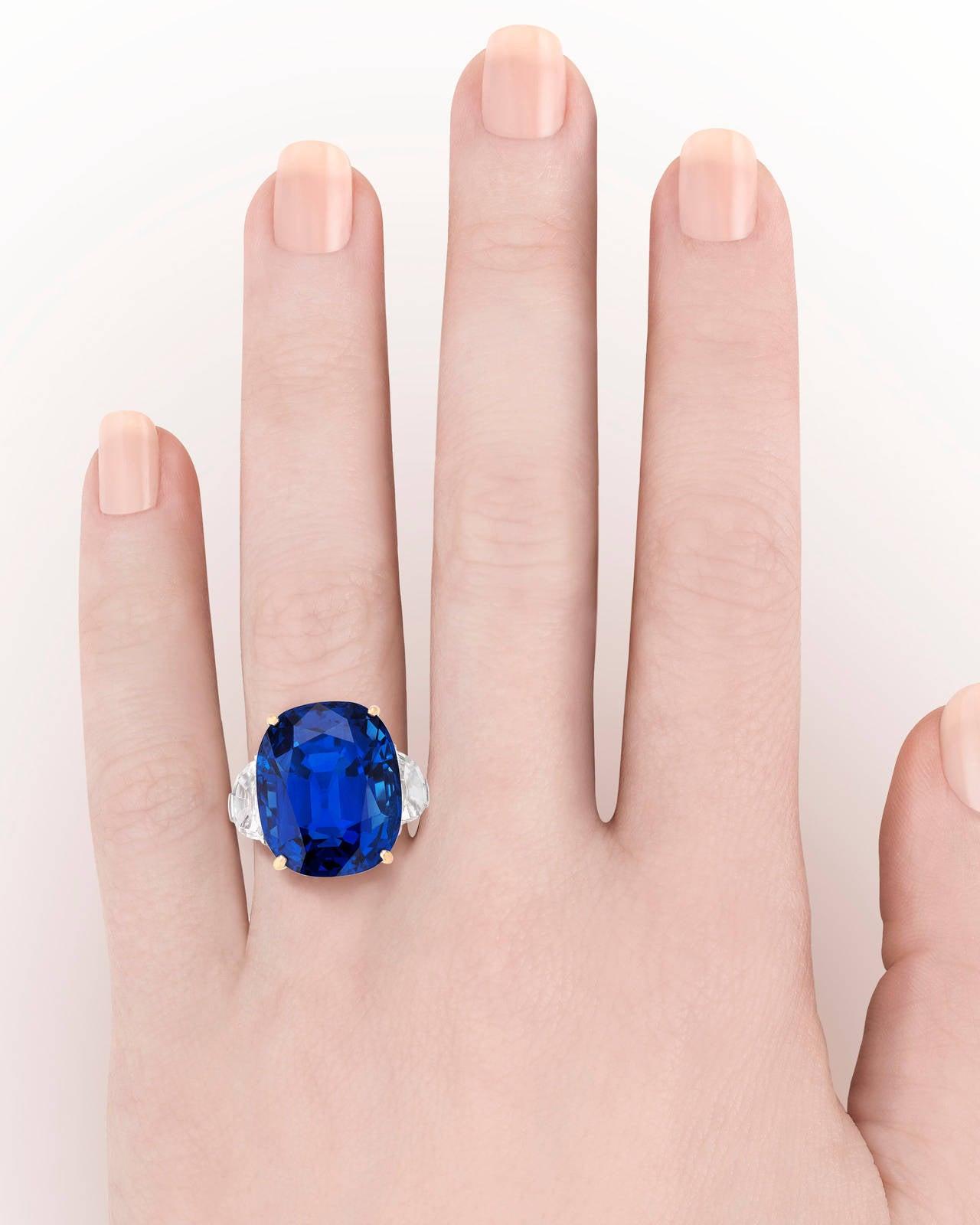 Untreated Burma Sapphire Ring 35.07 Carats 4