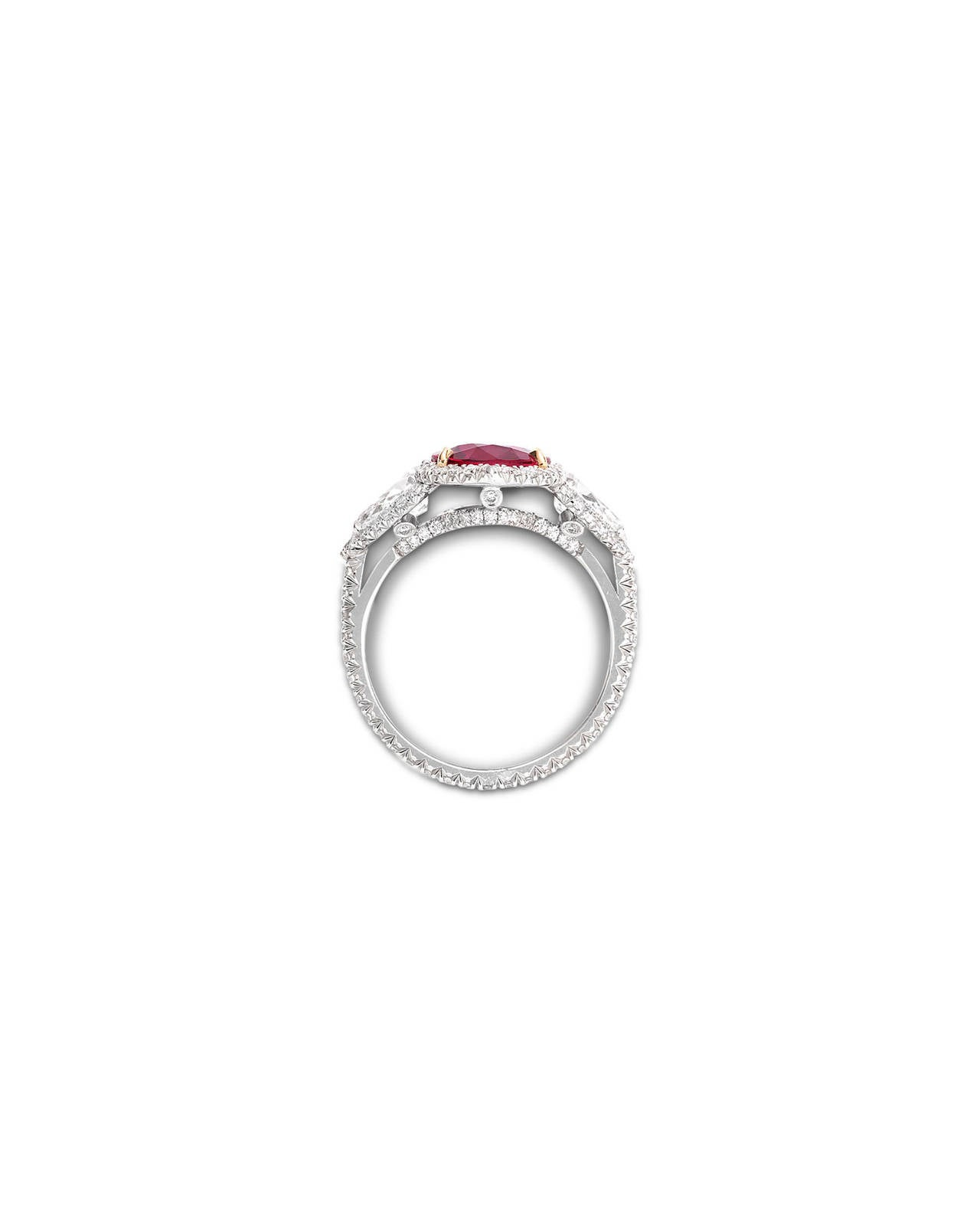 Untreated Ruby and Diamond Ring 3.02 Carats 3