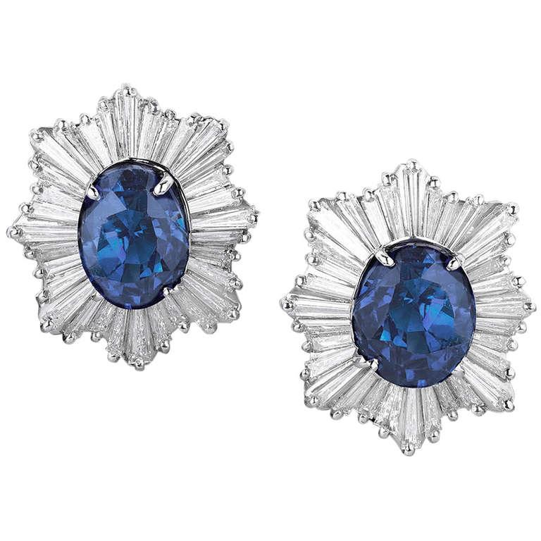 Sapphire Diamond Platinum Earrings