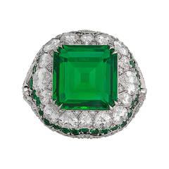 Untreated 4.31 Carat Emerald Diamond Platinum Ring