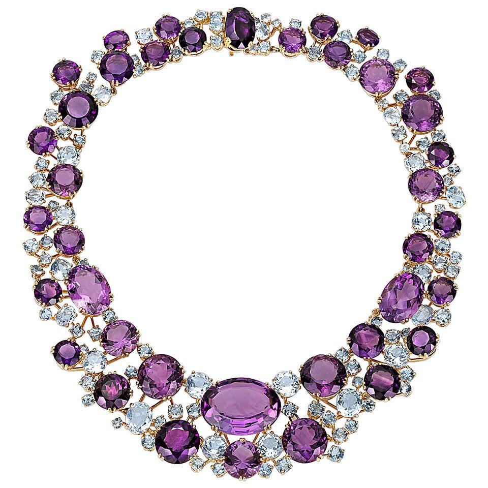 Verdura Amethyst Aquamarine Gold Necklace