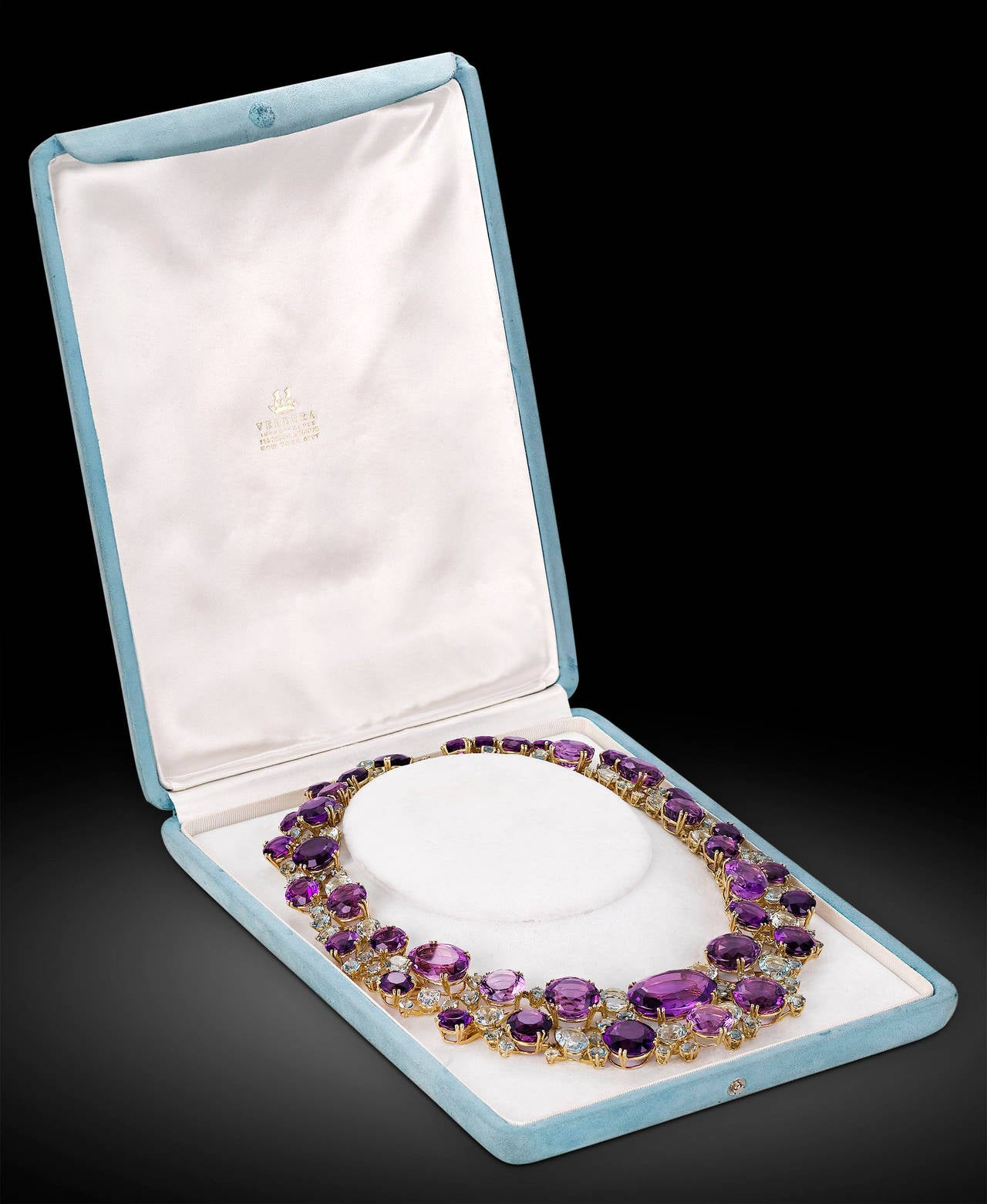 Verdura Amethyst Aquamarine Gold Necklace In Excellent Condition In New Orleans, LA