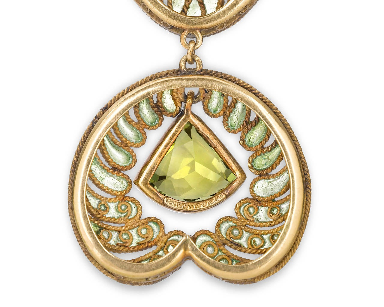 Louis Comfort Tiffany Plique-a-Jour Peridot Gold Necklace In Excellent Condition In New Orleans, LA