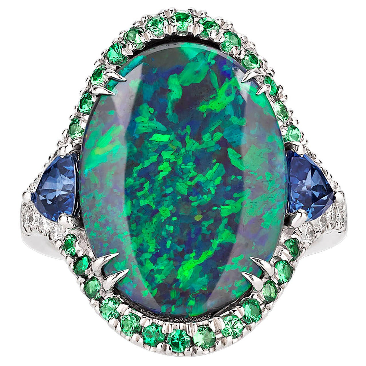 3.60 Carat Lightning Ridge Black Opal Ring For Sale