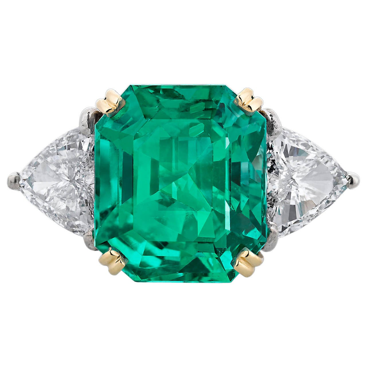 Colombian Emerald Diamond gold Cocktail Ring 1