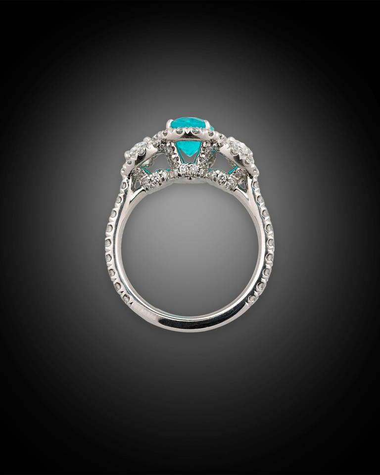 Contemporary Paraiba Tourmaline Diamond Ring For Sale