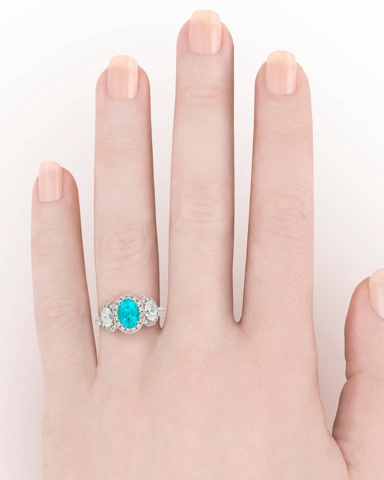 Paraiba Tourmaline Diamond Ring In Excellent Condition For Sale In New Orleans, LA