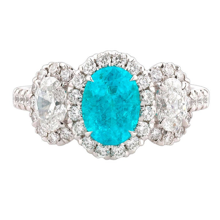 Paraiba Tourmaline Diamond Ring For Sale