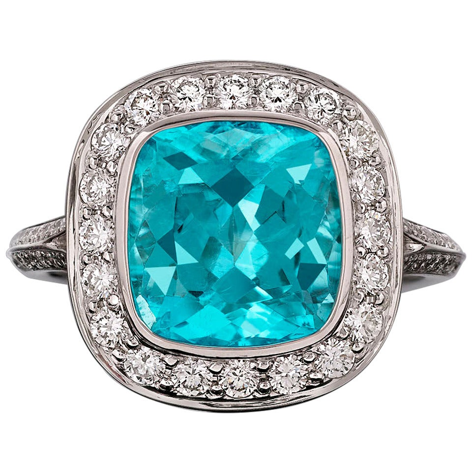 Brazilian Paraiba Tourmaline Ring 3 62 Carat For Sale At
