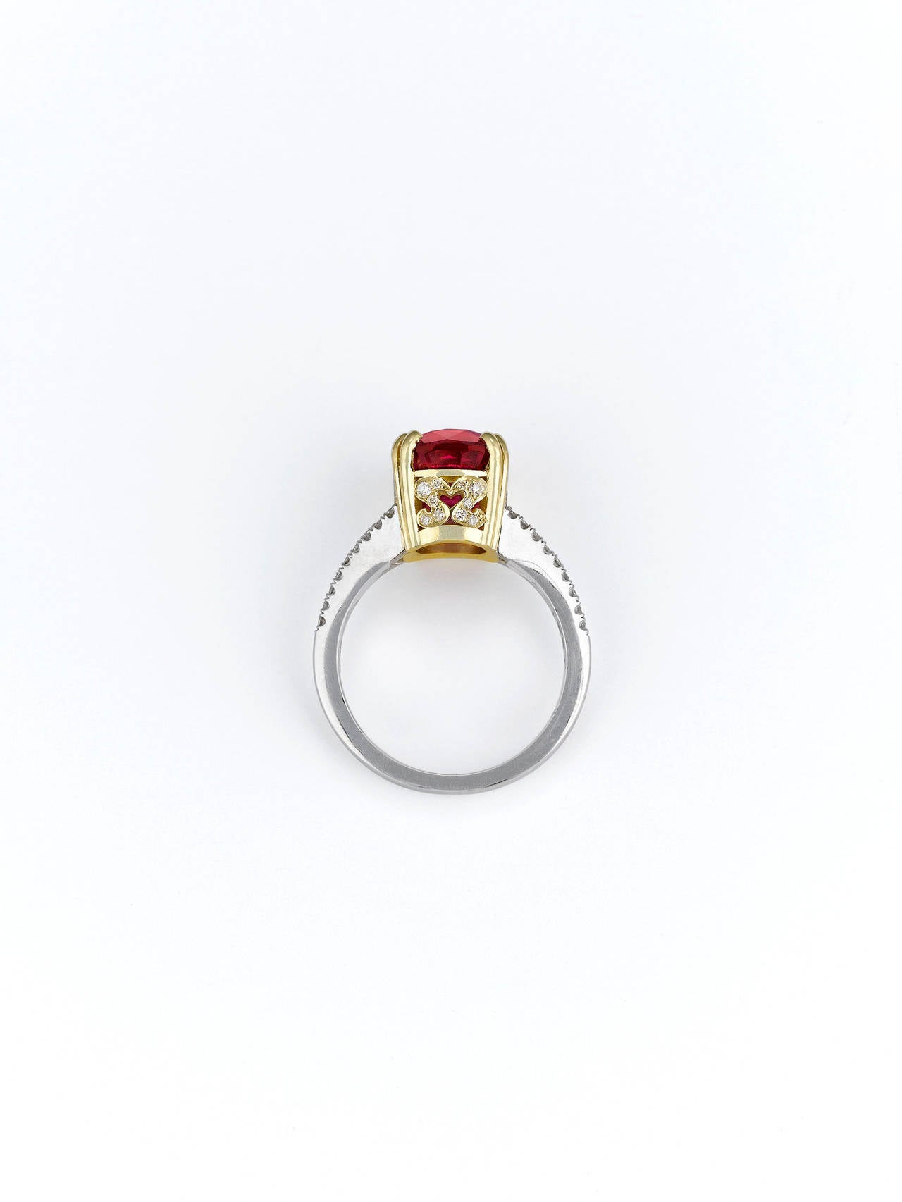 Spinel Diamond Gold Platinum Ring 3