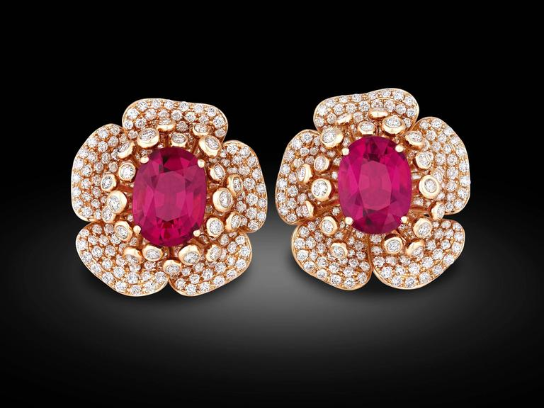 Rubellite Diamond Gold Flower Petal Earrings 2