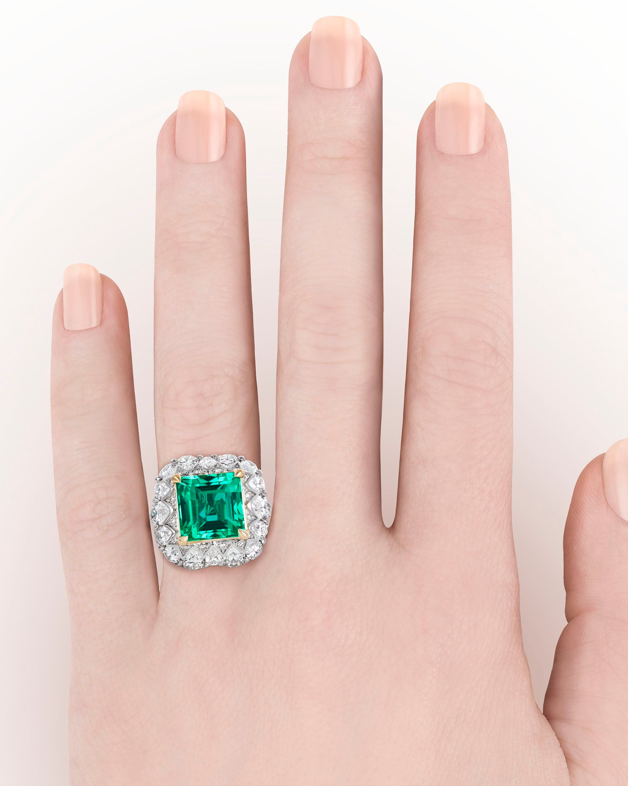 Untreated 5.66 Carat Colombian Emerald Diamond Gold Ring at 1stdibs