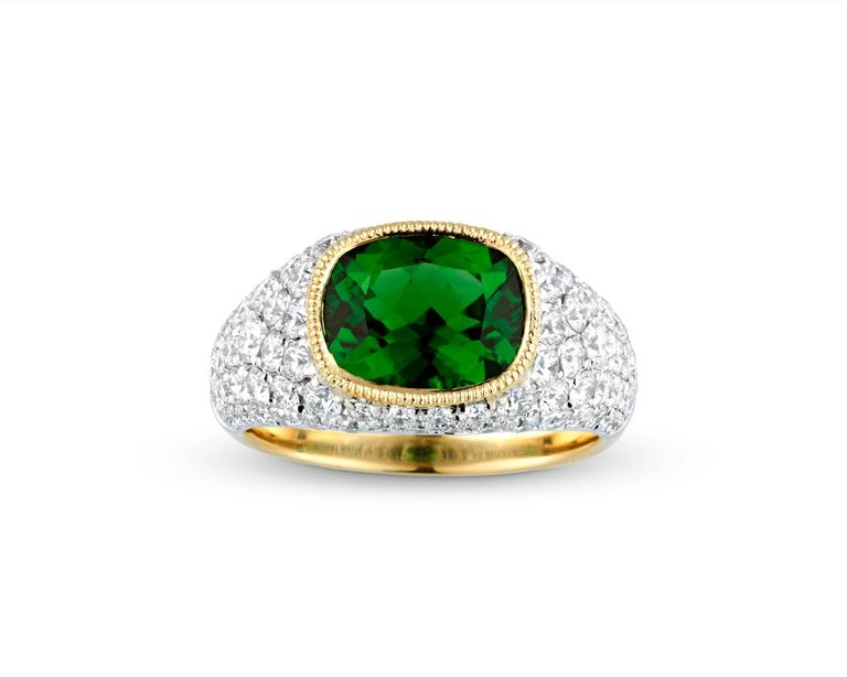 2.55 Carat Chrome Tourmaline Ring In Excellent Condition For Sale In New Orleans, LA