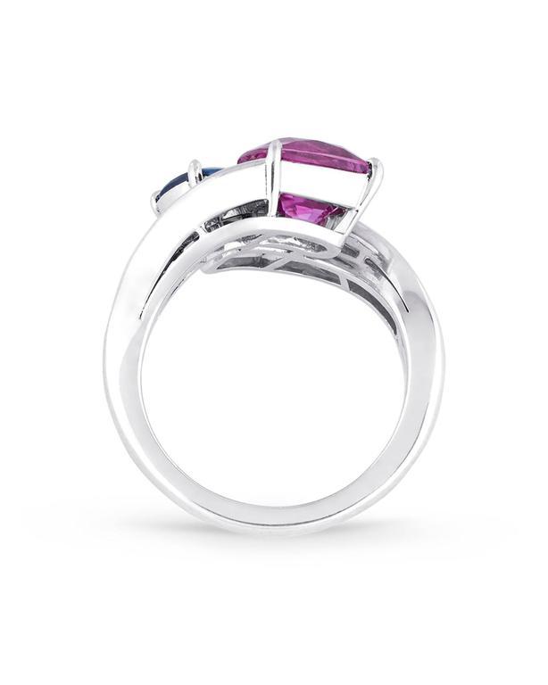 Bulgari Blue and Pink Sapphire Diamond Crossover Ring  3