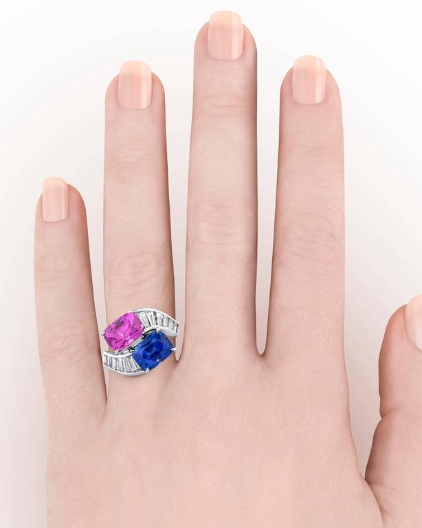 Bulgari Blue and Pink Sapphire Diamond Crossover Ring  5