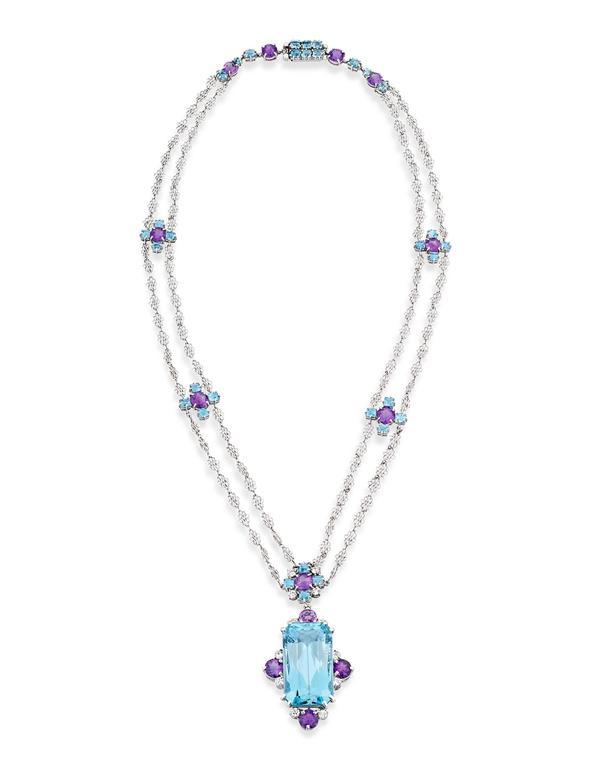 Tiffany & Co. 12.00 Carat Aquamarine Amethysts Platinum Necklace 2