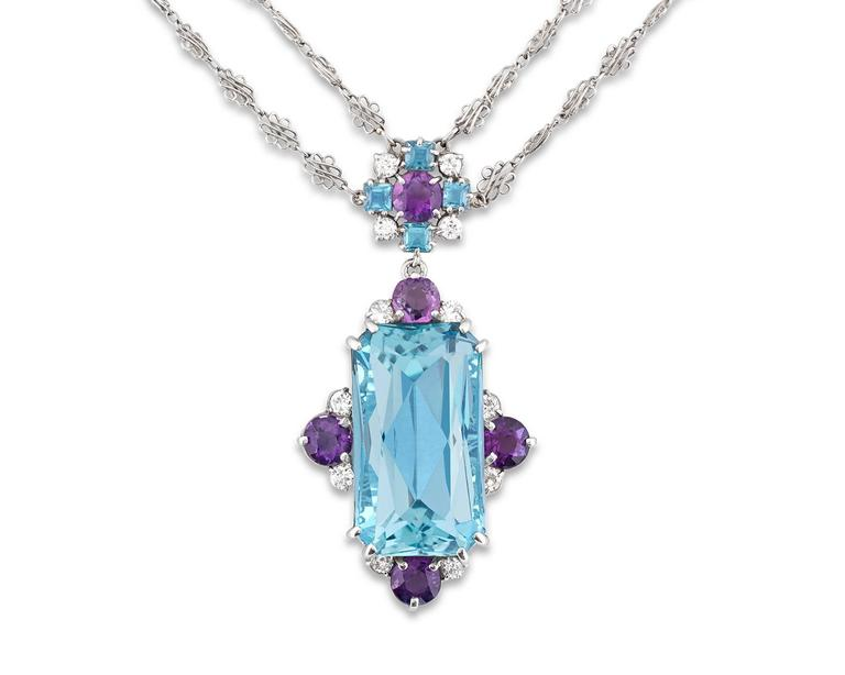 Art Nouveau Tiffany & Co. 12.00 Carat Aquamarine Amethysts Platinum Necklace For Sale