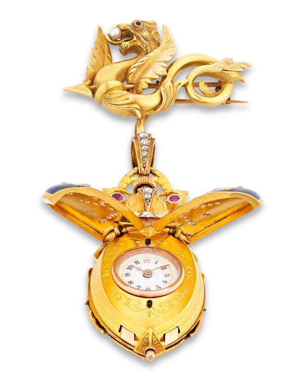 Yellow Gold Scarab Lapel Watch, circa 1880 2