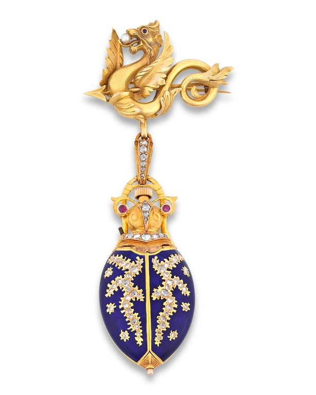 Yellow Gold Scarab Lapel Watch, circa 1880 3