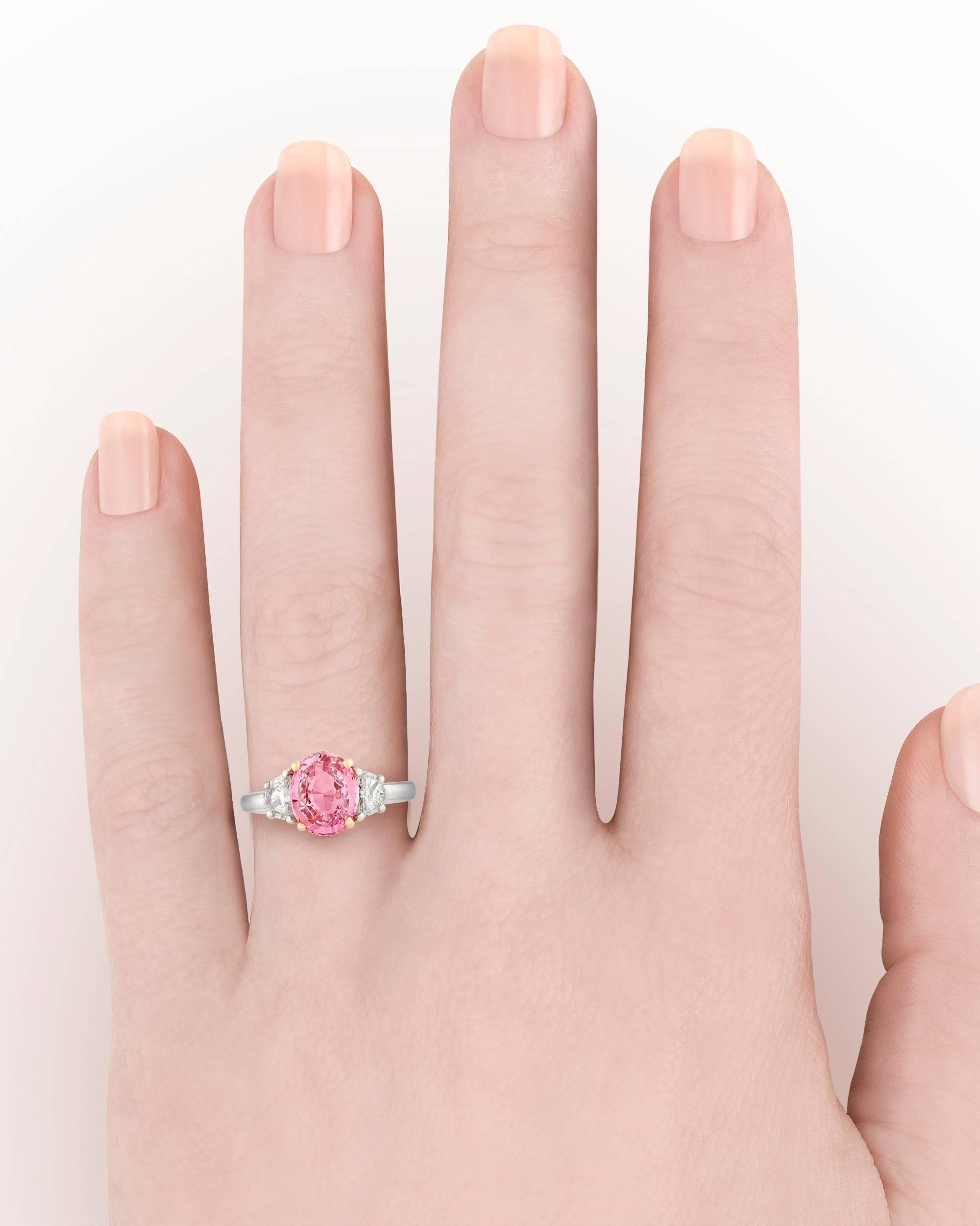 Padparadscha Sapphire Ring, 3.07 Carat For Sale at 1stdibs
