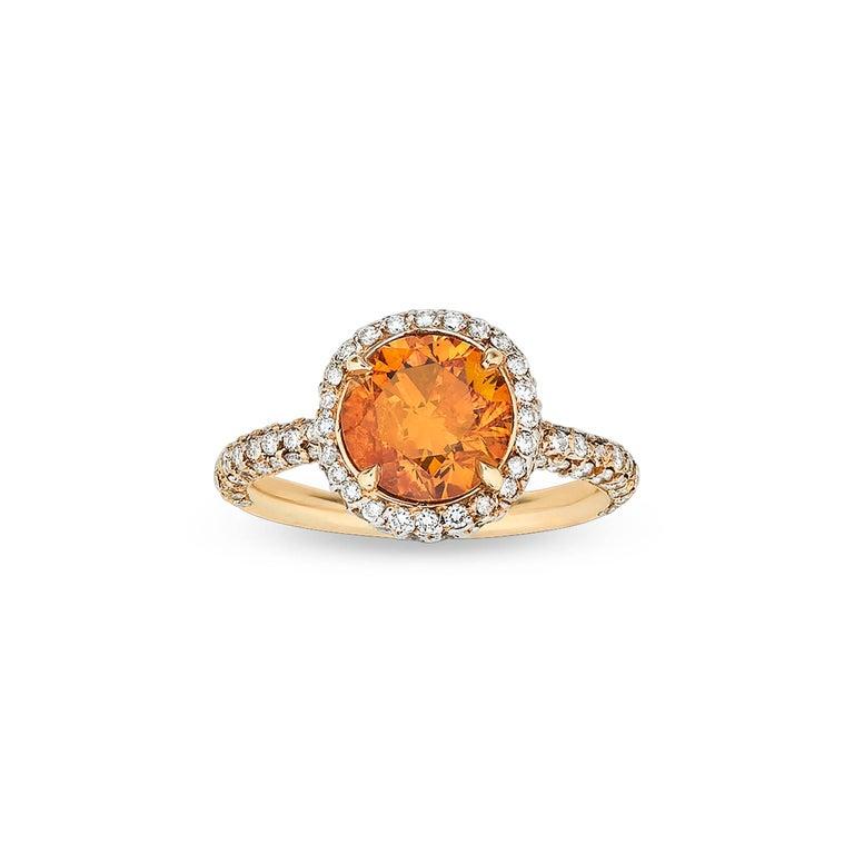GIA Report 2.34 Carat Fancy Deep Orange Diamond Ring 2
