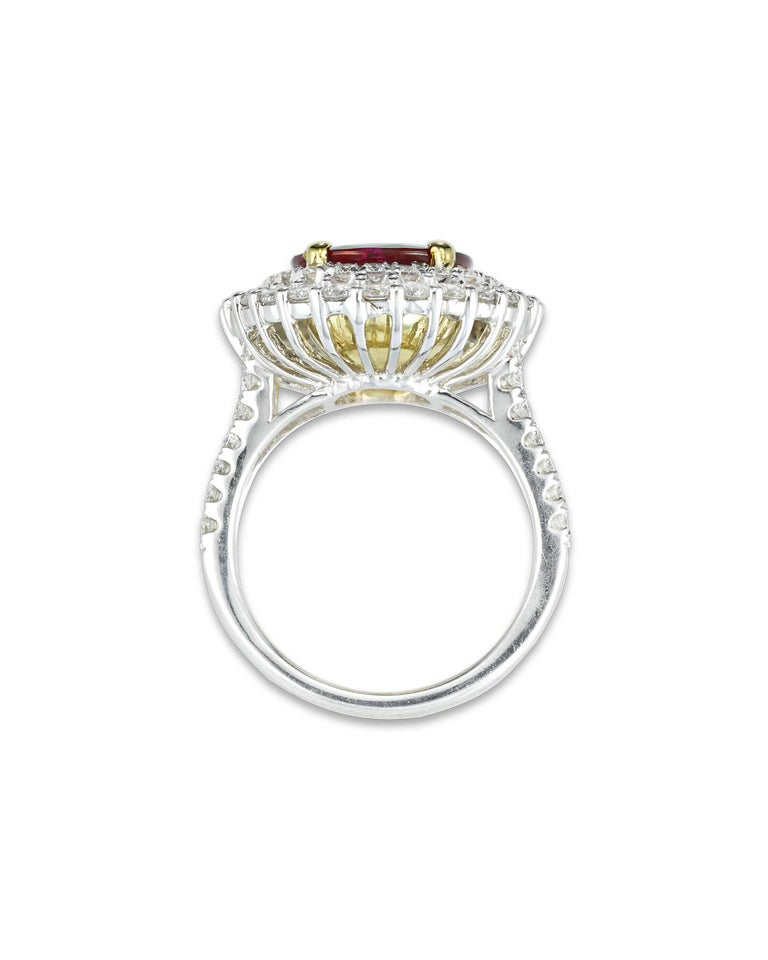 Modern Burma Ruby and Diamond Ring, 3.95 Carat For Sale