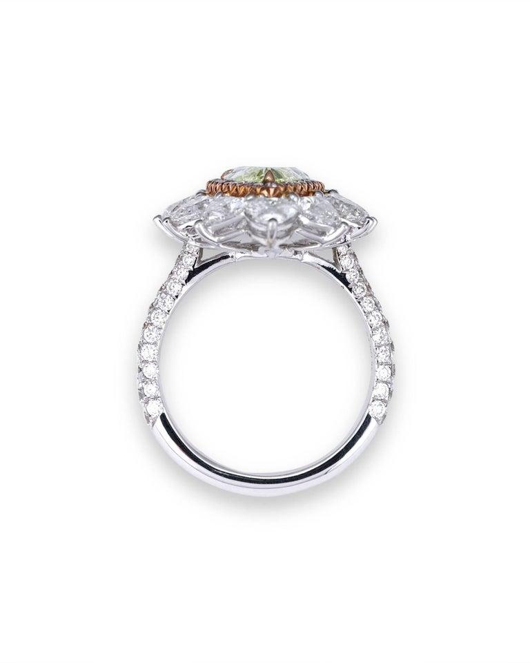 Modern Fancy Intense Yellow Green Diamond Ring, 1.72 Carat For Sale