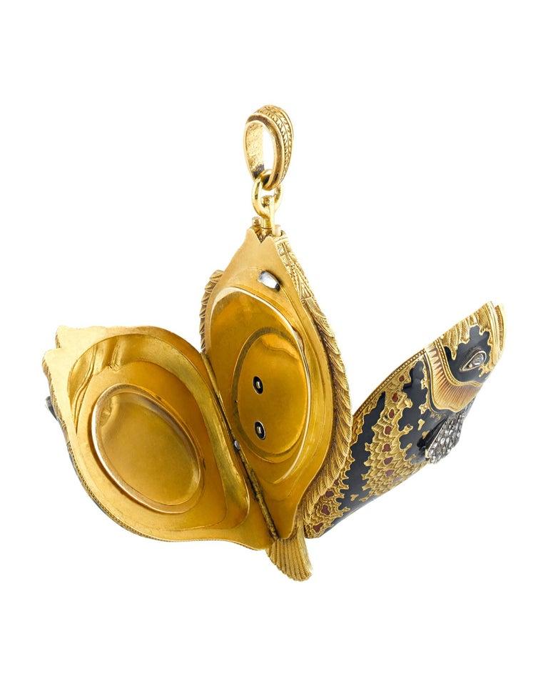 Modern Diamond Enamel Sunfish Lapel Watch, circa 1860 For Sale