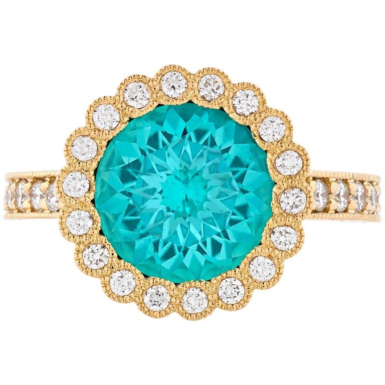 Tourmaline and Diamond Gold Ring