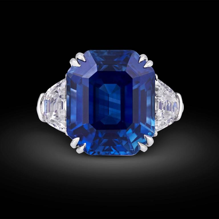 Weighing an absolutely astonishing 18.50 carats, this natural emerald-cut Kashmir sapphire is absolutely beyond compare. Displaying the lustrous, velvety blue hue so beloved in these rare Kashmir gemstones, this rare and important sapphire is