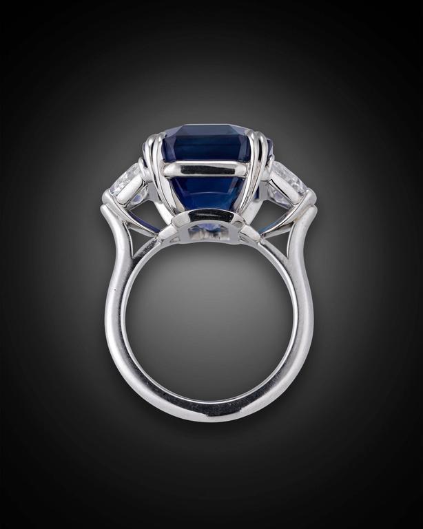 18.50 Carat Untreated Kashmir Sapphire Diamond Platinum Ring 1