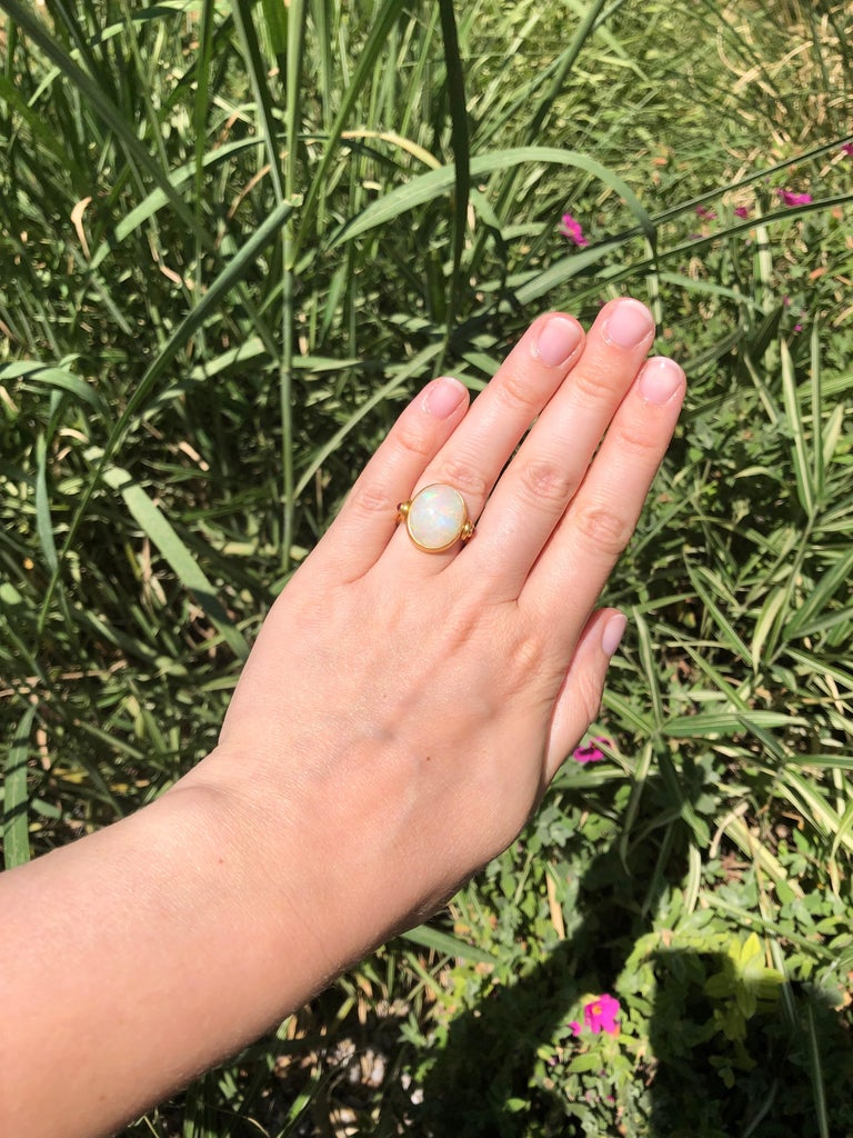 Scrives White Opal and Rubies 22 Karat Gold Ring For Sale 1