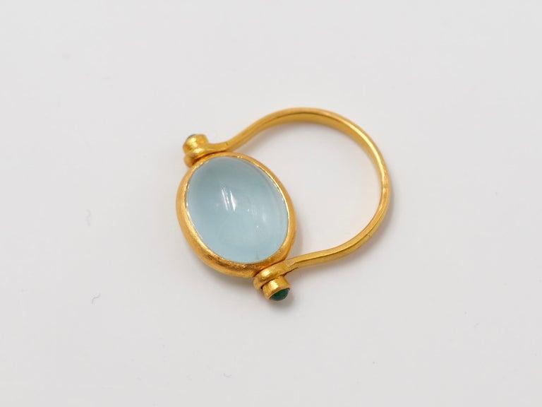Scrives Aquamarine Emerald Cabochon 22 Karat Gold Turning Ring For Sale 2