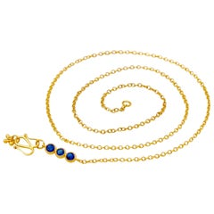 Handmade Kyanite 20 Karat Gold Chain Halskette