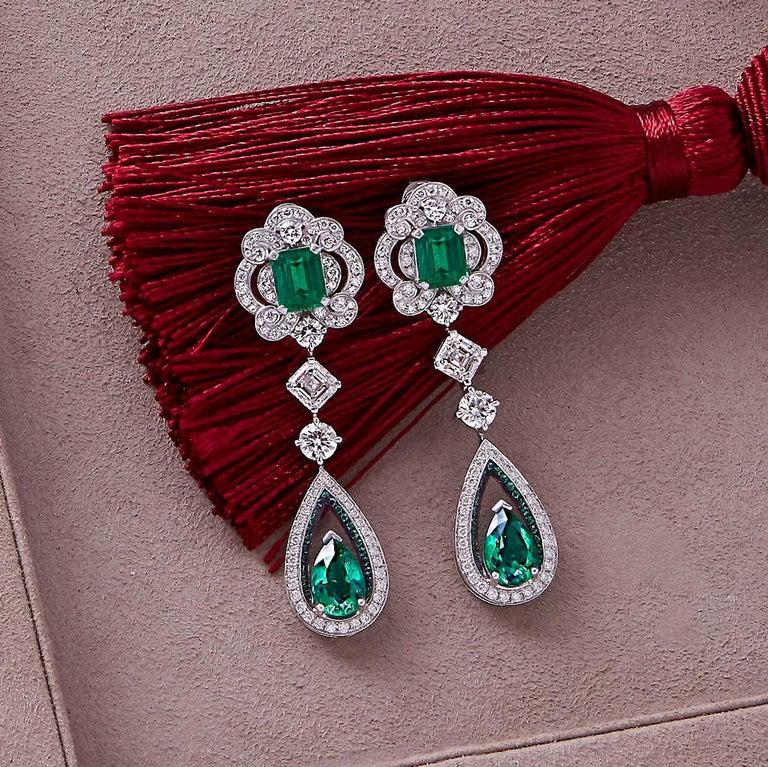 Women's or Men's Garrard 18 karat gold Gubelin GRS GIA Pearshape Emerald & Diamond Drop Earrings For Sale