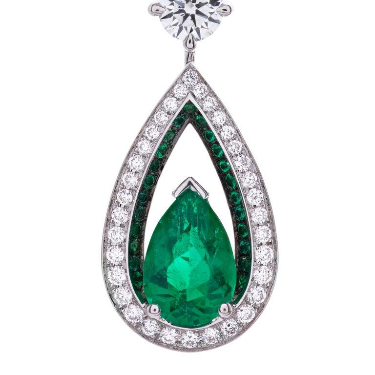 Emerald Cut Garrard 18 karat gold Gubelin GRS GIA Pearshape Emerald & Diamond Drop Earrings For Sale