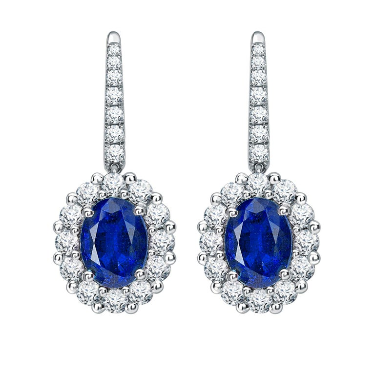 Garrard 1735 Platinum GIA Oval Blue Sapphire Diamond Drop Cluster Earrings  For Sale