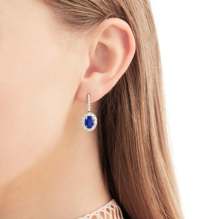 Oval Cut Garrard 1735 Platinum GIA Oval Blue Sapphire Diamond Drop Cluster Earrings  For Sale