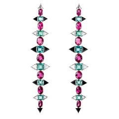 Nikos Koulis 18 Karat White Gold White Diamond Rubellite Apatite Onyx Earrings