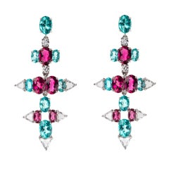 Nikos Koulis 18 Karat White Gold White Diamond Rubellite Apatite Earrings