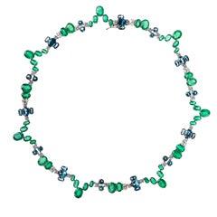 Nikos Koulis 18 Karat White Gold Emerald White Diamond Blue Topaz Necklace