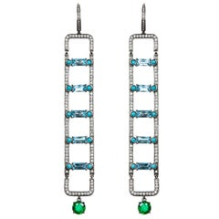 Nikos Koulis 18 Karat White Gold White Diamond Emerald Turquoise Topaz Earrings