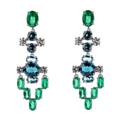Nikos Koulis 18 Karat White Gold White Diamond Emerald Blue Topaz Earrings