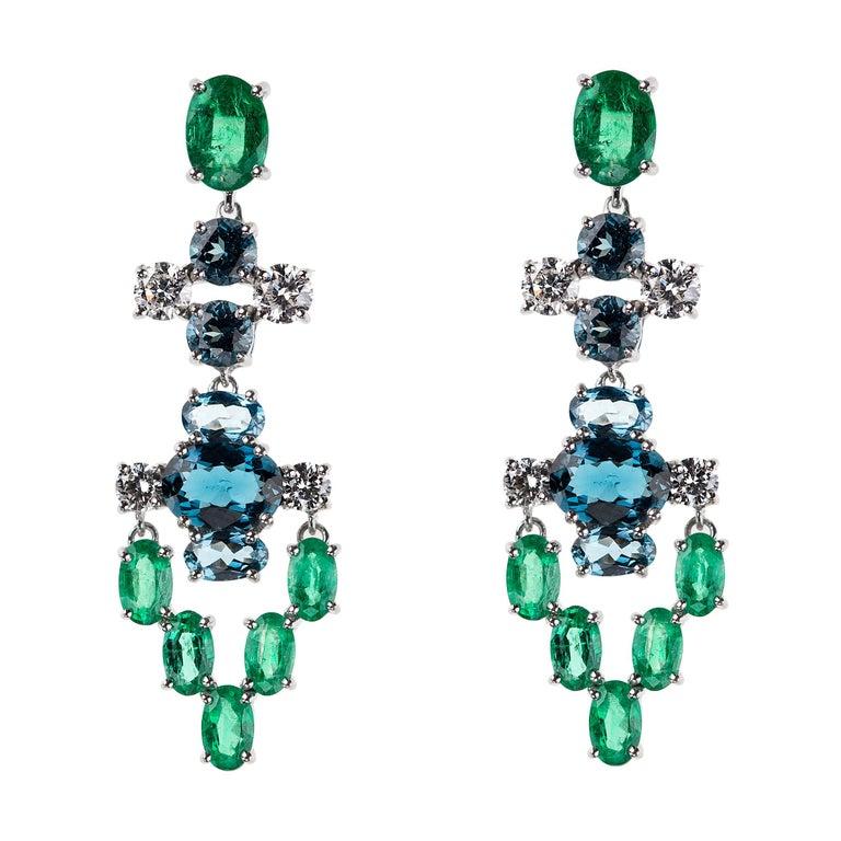 Nikos Koulis 18 Karat White Gold White Diamond Emerald Blue Topaz Earrings For Sale