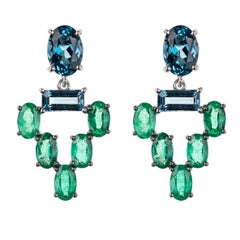Nikos Koulis 18 Karat White Gold Emerald Blue Topaz Earrings