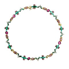 Nikos Koulis 18 Kt Yellow Gold Emerald White Diamond Paraiba Sapphire Necklace