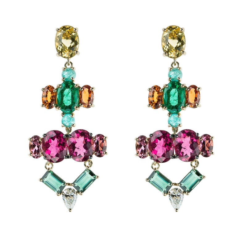 Nikos Koulis 18 Kt Yellow Gold Rubellite Yellow Beryl Orange Sapphire Earrings For Sale