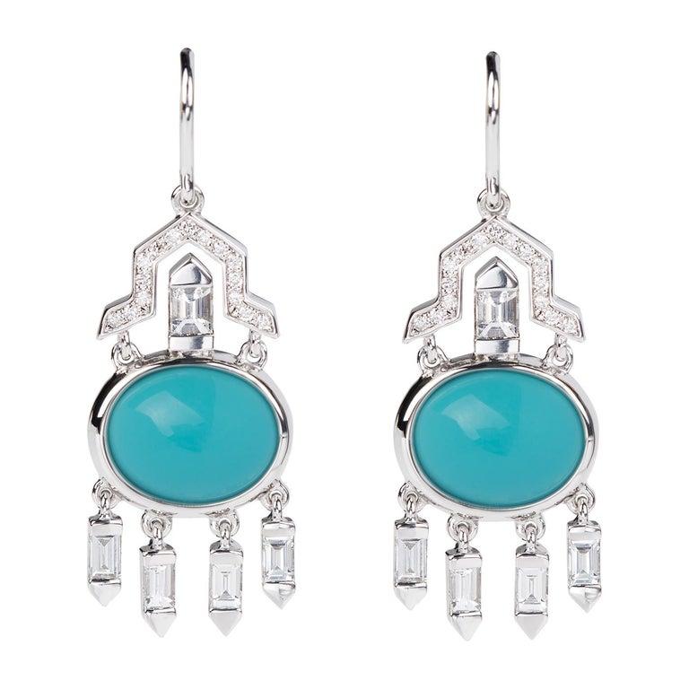 Nikos Koulis 18 Karat White Gold Turquoise White Diamond Earrings For Sale