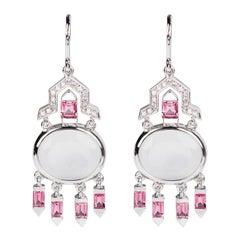 Nikos Koulis 18 Karat White Gold Quartz Pink Tourmaline White Diamond Earrings
